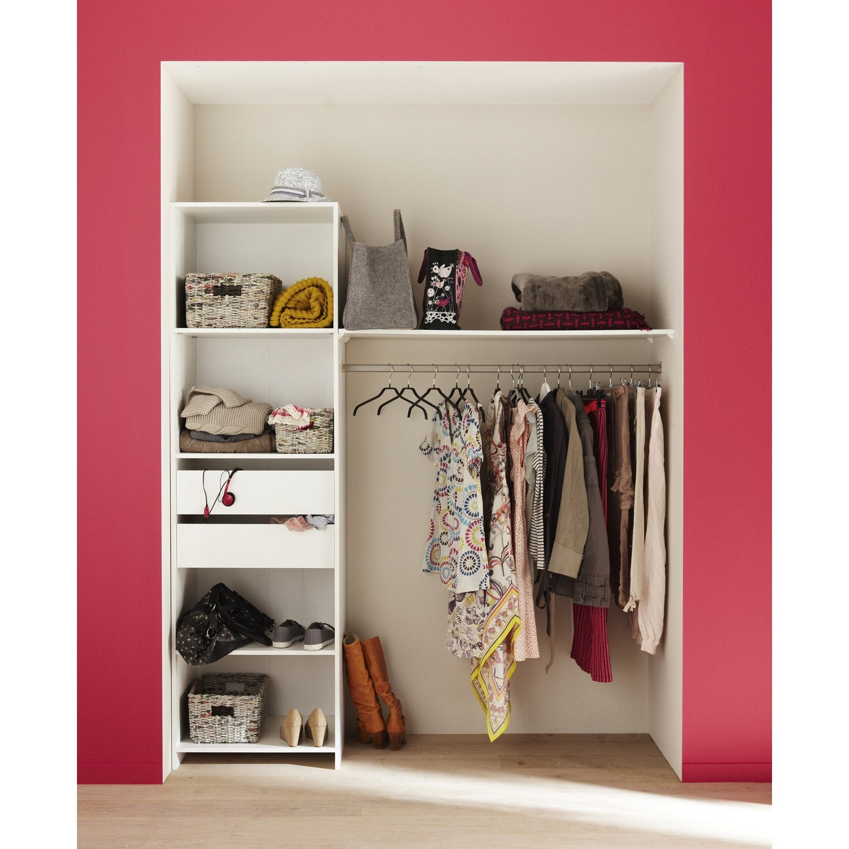 kit dressing blanc modul 39 kit x x cm leroy merlin. Black Bedroom Furniture Sets. Home Design Ideas