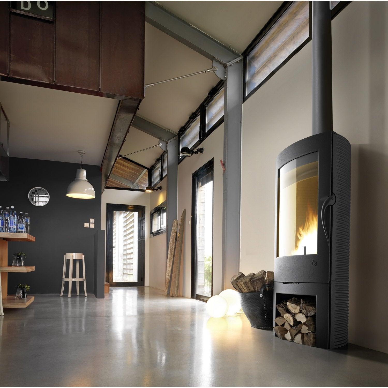 po le bois invicta argos anthracite 6151 44 12 kw leroy merlin. Black Bedroom Furniture Sets. Home Design Ideas
