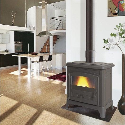po le bois godin fonteval anthracite 10 kw leroy merlin. Black Bedroom Furniture Sets. Home Design Ideas