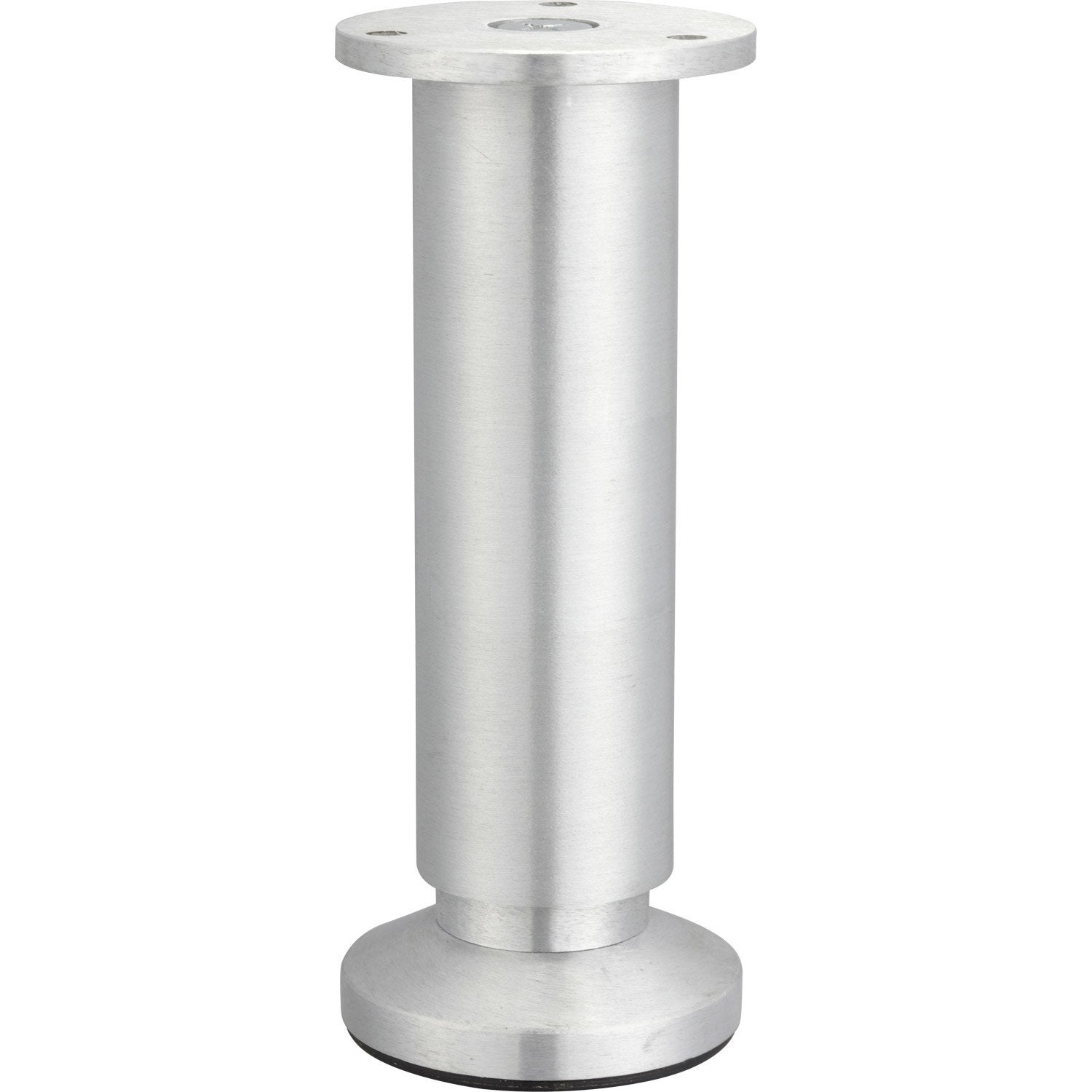 Pied de meuble cylindrique r glable aluminium bross gris de 15 17 cm leroy merlin - Pied de table telescopique ...