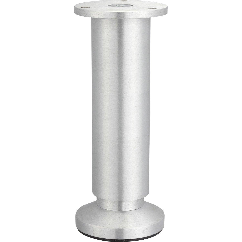 Pied De Meuble Cylindrique Reglable Aluminium Brosse Gris De 15 A