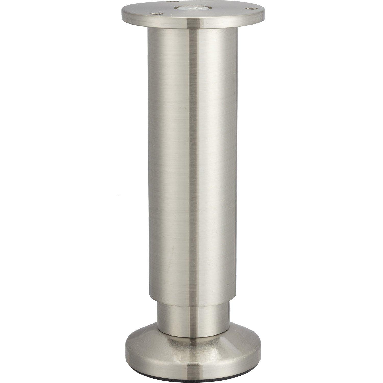 pied de meuble cylindrique r glable aluminium chrom gris de 15 17 cm leroy merlin. Black Bedroom Furniture Sets. Home Design Ideas