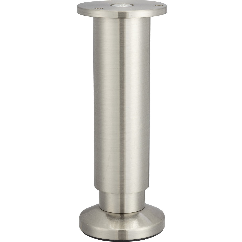 Pied De Meuble Cylindrique Reglable Aluminium Chrome Gris De 15 A