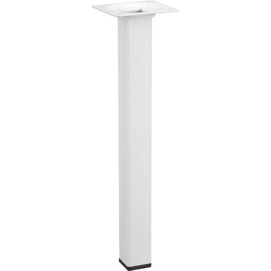 Pied de table basse carr fixe acier epoxy blanc 25 cm - Pied de table basse leroy merlin ...