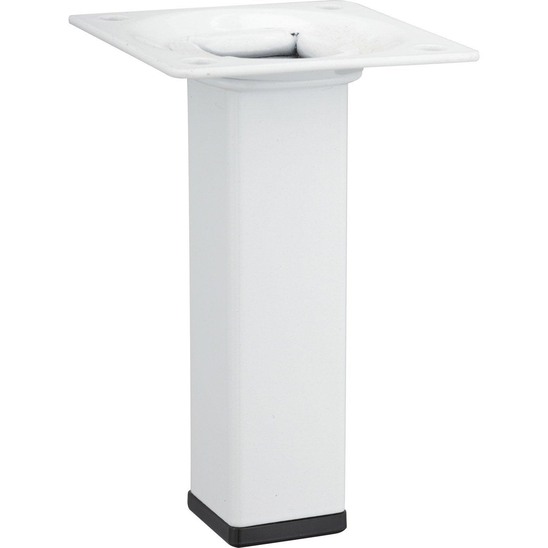Pied de meuble carr fixe acier poxy blanc 10 cm leroy for Meuble 50 cm hauteur