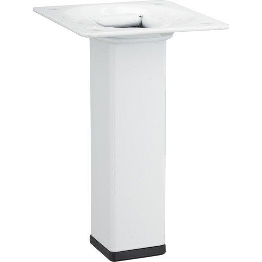 Pied de meuble carré fixe acier epoxy blanc, 10 cm