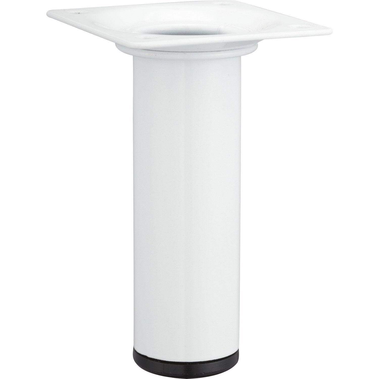 Pied De Meuble Cylindrique Fixe Acier Poxy Blanc 10 Cm Leroy  # Pied Pour Meuble Tv