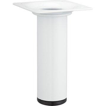 Pied de meuble cylindrique fixe acier époxy blanc, 10 cm
