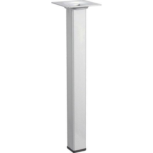 pied de table basse carr fixe acier mat gris 25 cm leroy merlin. Black Bedroom Furniture Sets. Home Design Ideas