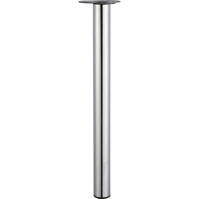 Pied De Table Cylindrique Reglable Acier Chrome Gris De 70 A 73 Cm