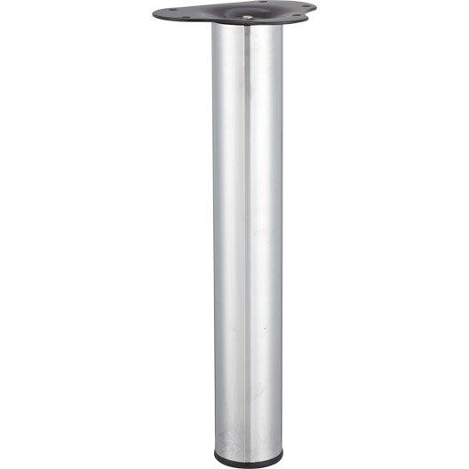 Pied de table basse cylindrique r glable acier chrom gris de 40 43 cm l - Pieds de lit leroy merlin ...