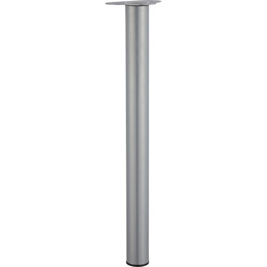 Pied de table cylindrique r glable acier mat gris de 70 - Pied de table 100 cm ...