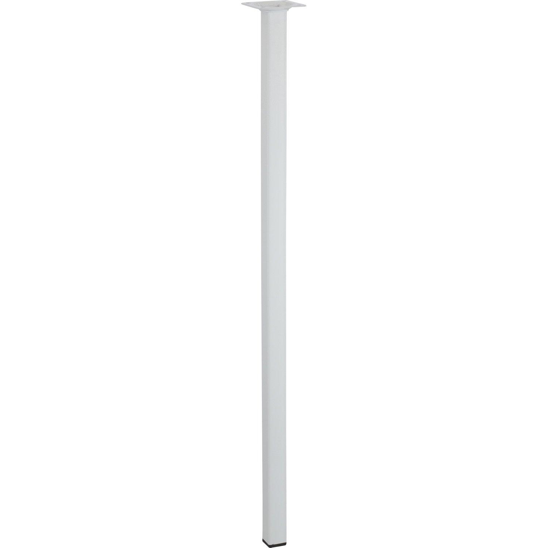 Pied de table basse carr fixe acier poxy blanc 70 cm - Pied table basse acier ...