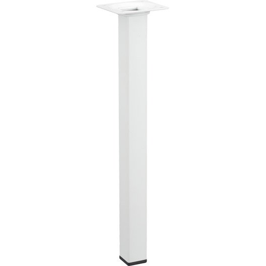 Pied de table basse carr fixe acier epoxy blanc 30 cm leroy merlin - Leroy merlin pied de table ...