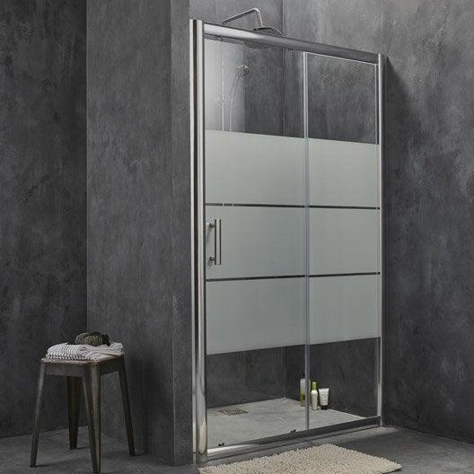 Porte de douche coulissante sensea optima 2 verre de for Porte douche 120 cm