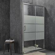 Porte de douche coulissante SENSEA Optima 2, verre de sécurité sérigraphié