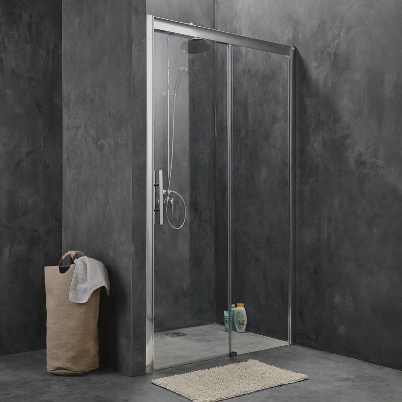 Porte de douche coulissante 120 cm transparent adena leroy merlin - Porte coulissante pour douche de 130 cm ...