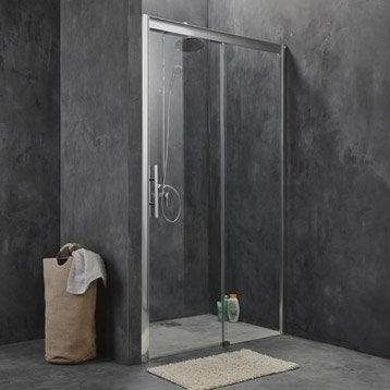 Porte de douche coulissante 117/121 cm profilé chromé, Adena
