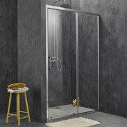 Porte de douche coulissante SENSEA Remix, verre de sécurité transparent