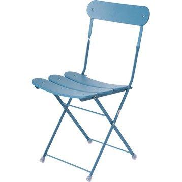 Chaise de jardin en acier cassis couleur bleu oasi by emuacier - Chaise jardin couleur ...