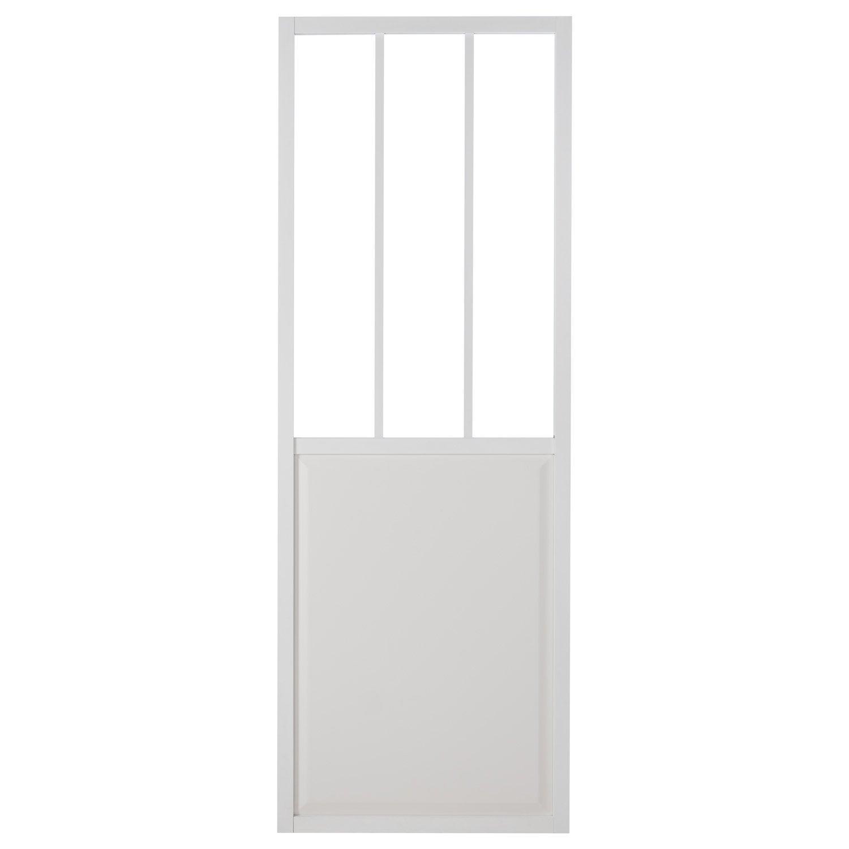 Porte Coulissante Aluminium Blanc Atelier Verre Clair Artens H 204