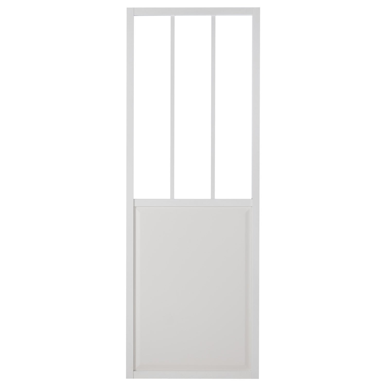 Porte Coulissante Aluminium Blanc Atelier Verre Clair ARTENS H - Porte coulissante extérieure leroy merlin