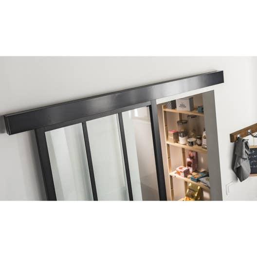 rail coulissant habillage swing 2 cache laqu noir artens. Black Bedroom Furniture Sets. Home Design Ideas