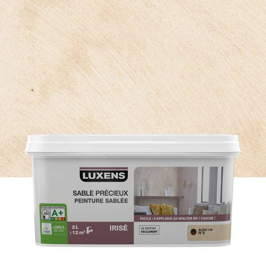 peinture effet sable pr cieux luxens blanc lin 6 2 l leroy merlin. Black Bedroom Furniture Sets. Home Design Ideas