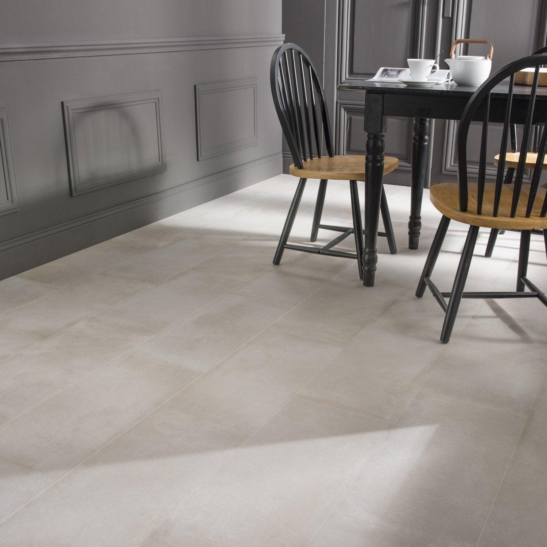 Carrelage Sol Et Mur Blanc Cassé Effet Béton Time L30 X L60 Cm