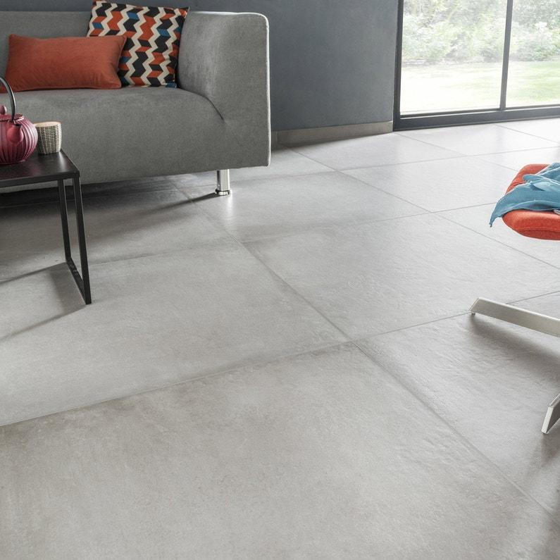 Carrelage Sol Et Mur Intenso Béton Gris Ciment Time L 75 X L 75 Cm