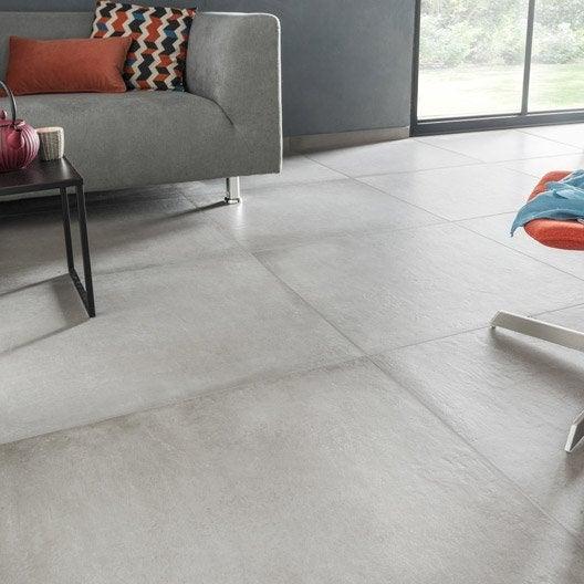 Carrelage sol et mur gris ciment effet b ton time x l - Carrelage gris mur blanc ...