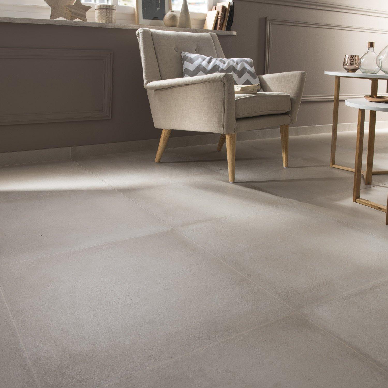 Carrelage Sol Et Mur Ficelle Effet Béton Time L X L Cm Leroy - Carrelage effet beton
