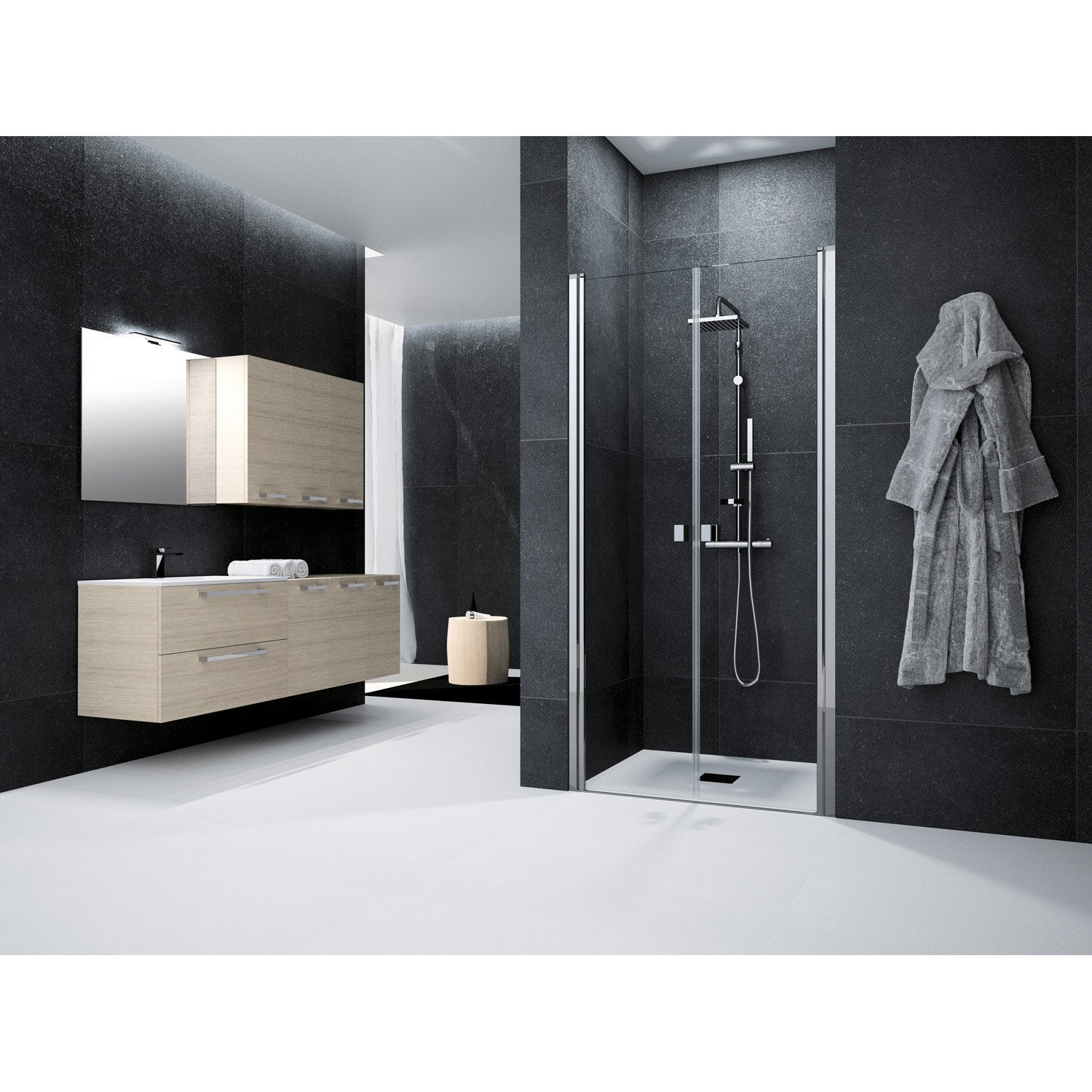 porte de douche battante 100 cm transparent neo leroy merlin. Black Bedroom Furniture Sets. Home Design Ideas