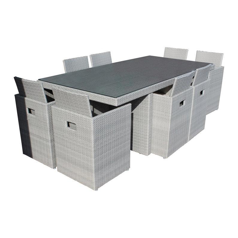 salon de jardin encastrable r sine tress e gris 8. Black Bedroom Furniture Sets. Home Design Ideas