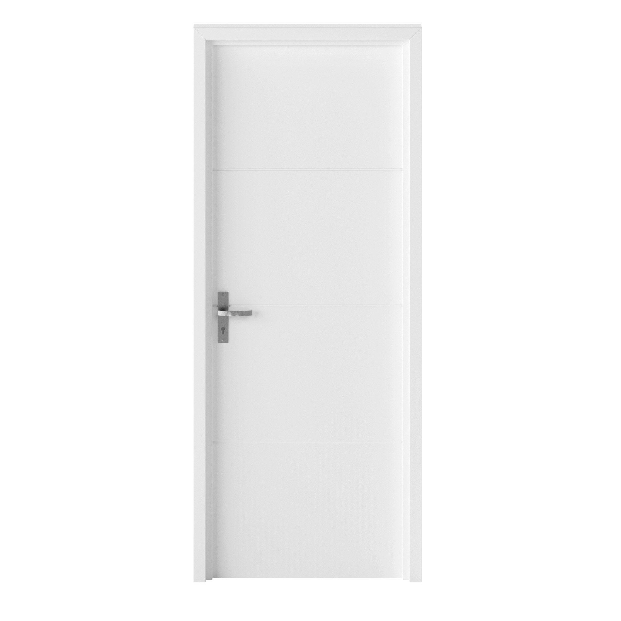 Bloc-porte bois revêtu Lali, blancrainuré H.204 x l.83 cm, poussant droit