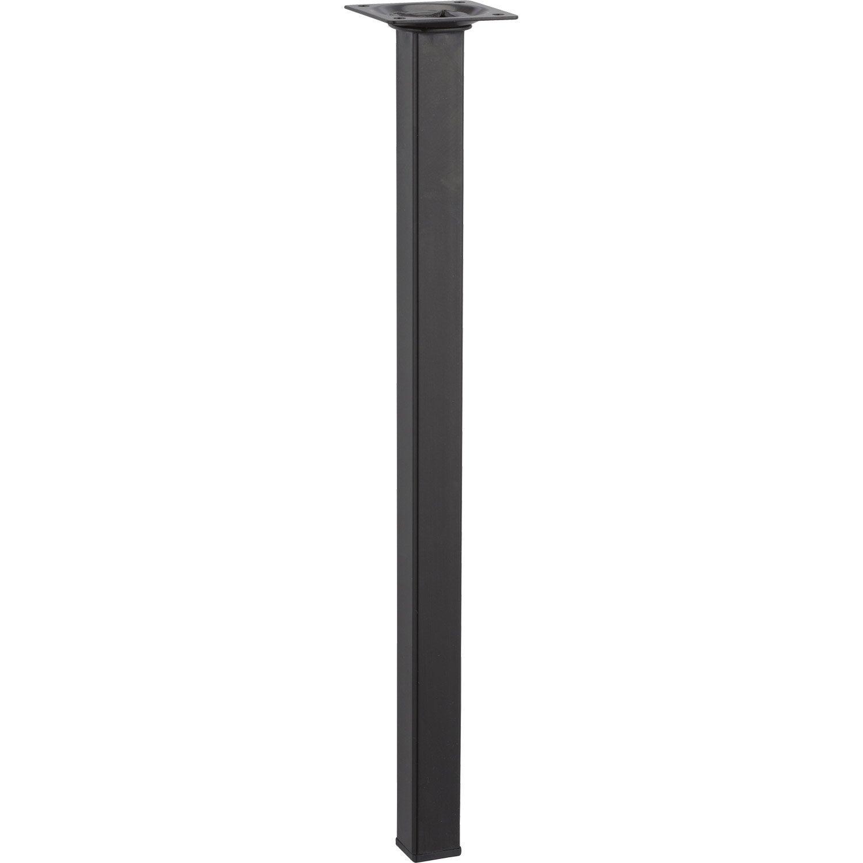 pied de table basse carr fixe acier poxy noir 40 cm. Black Bedroom Furniture Sets. Home Design Ideas