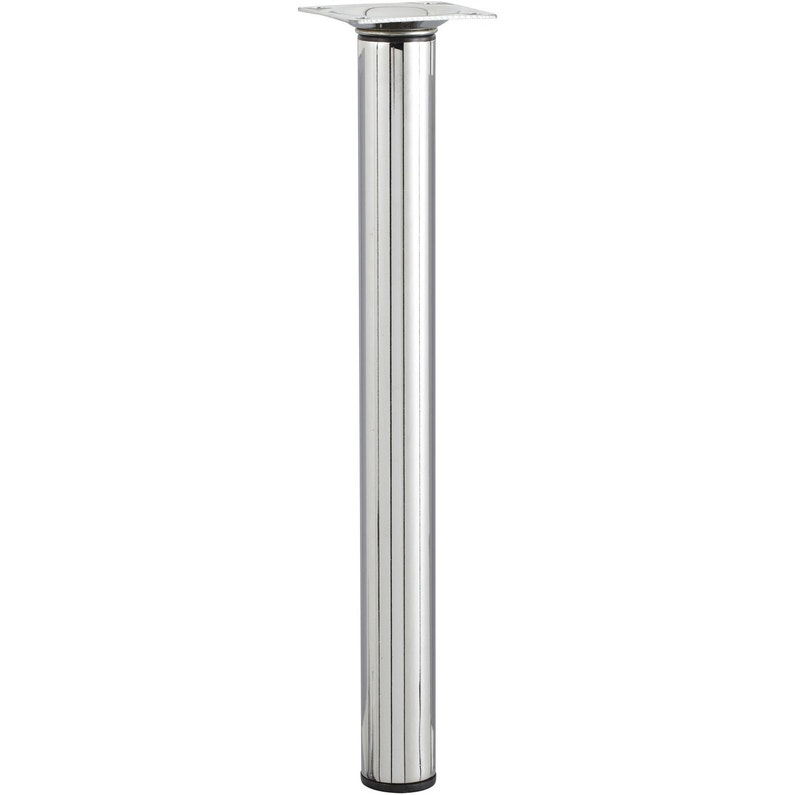 Pied Meuble Cylindrique Reglable Metal Chrome Gris Leroy Merlin