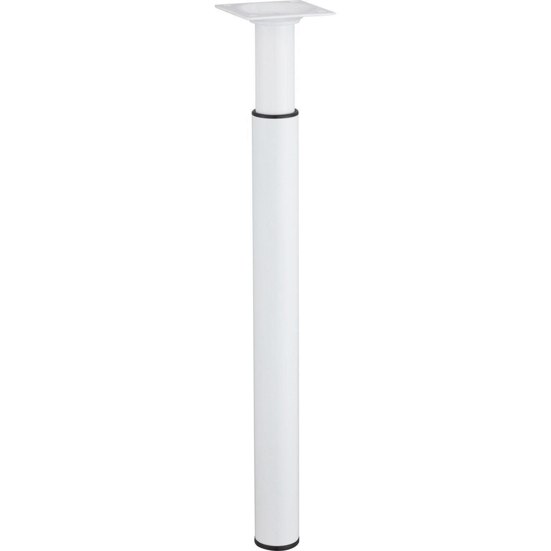 Pied De Meuble Cylindrique Reglable Metal Epoxy Blanc De 30 A 50 Cm