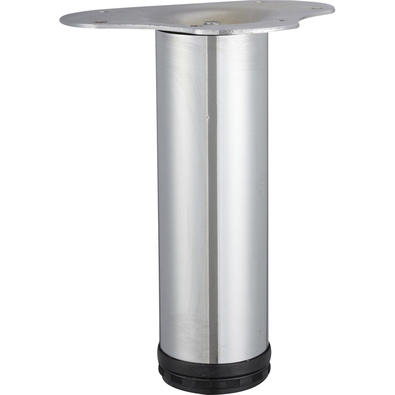 Pied De Table Basse Cylindrique Reglable Acier Chrome Gris De 20 A