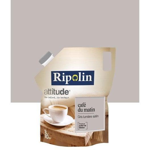 Peinture gris lumi re ripolin attitude caf du matin 1 l leroy merlin for Peinture ripolin attitude