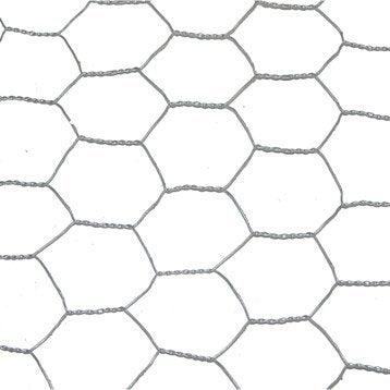 Grillage triple torsion gris H.1.5 x L.5 m, maille de H.25 x l.25 mm