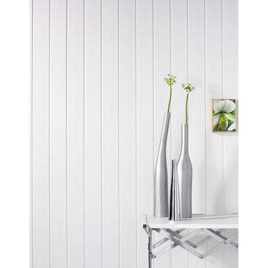 lambris pvc blanc brut dumaplast x cm x ep 8 mm leroy merlin. Black Bedroom Furniture Sets. Home Design Ideas