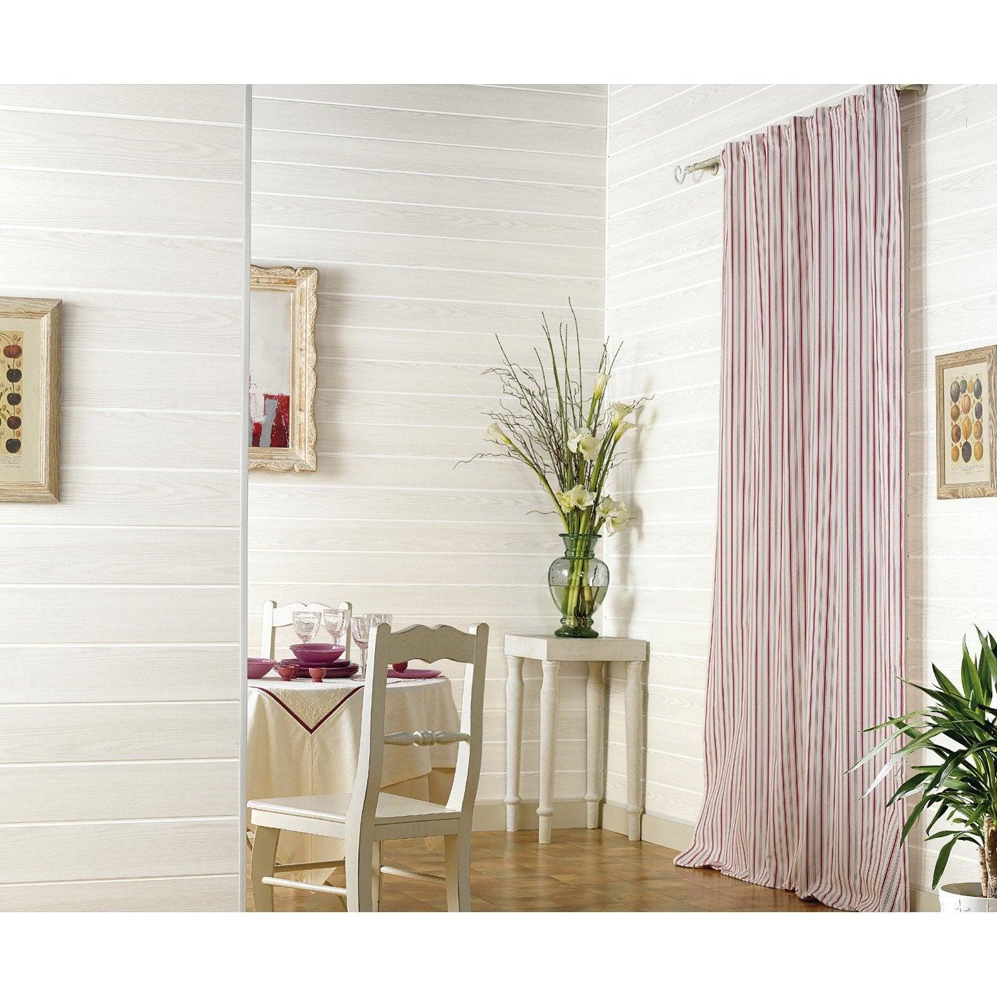 lambris pvc bois fin blanc grosfillex l.260 x l.37.5 cm x ep.8 mm ... - Lambris Pvc Salle De Bain Grosfillex