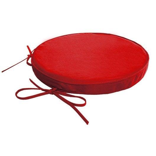 Galette de chaise imperm able ronde rouge rouge n 3 - Galette chaise exterieur impermeable ...