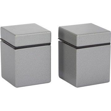 Lot de 2 querres pinces cube en zamak mat gris - Tablette murale leroy merlin ...