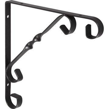 Equerre Rétro acier epoxy noir, H.20 x P.20 cm