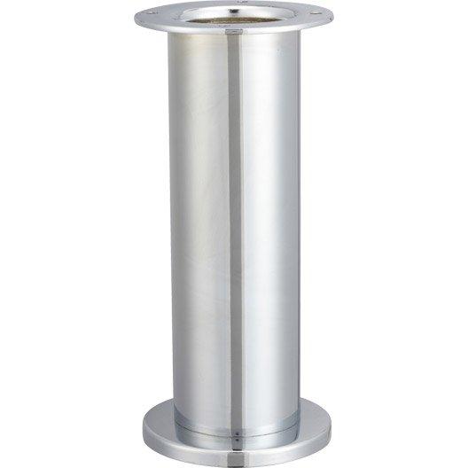 Pied de table cylindrique fixe acier chrom gris 20 cm - Pied de table inox ikea ...