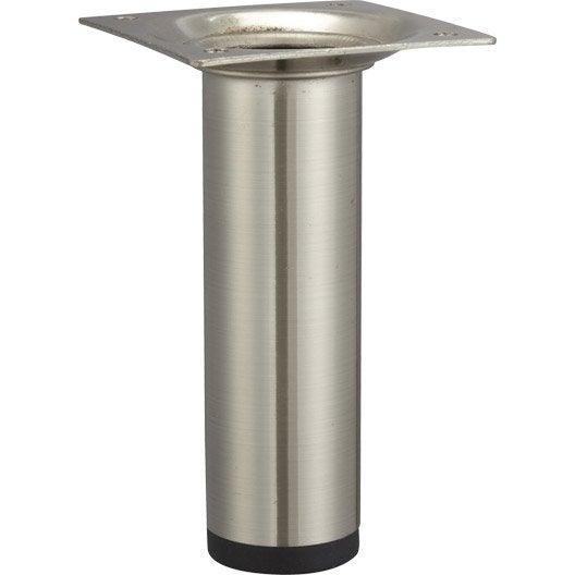 Pied de meuble cylindrique fixe acier bross gris 10 cm - Leroy merlin pied de meuble ...
