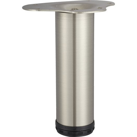 Pied de table basse cylindrique r glable acier bross gris - Pied de table basse leroy merlin ...