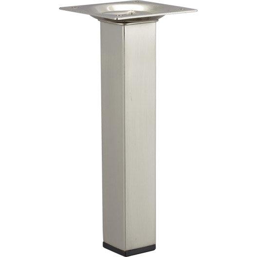 Pied de meuble carr fixe acier bross gris 15 cm leroy for Pied meuble de salle de bain